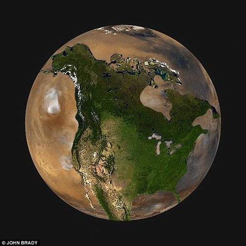 Bán kính của sao Hỏa xấp xỉ bằng một nửa bán kính của Trái đất. Khi so sánh, sao Hỏa sẽ thoải mái bao trùm toàn bộ khu vực Bắc Mỹ với rất nhiều không gian.