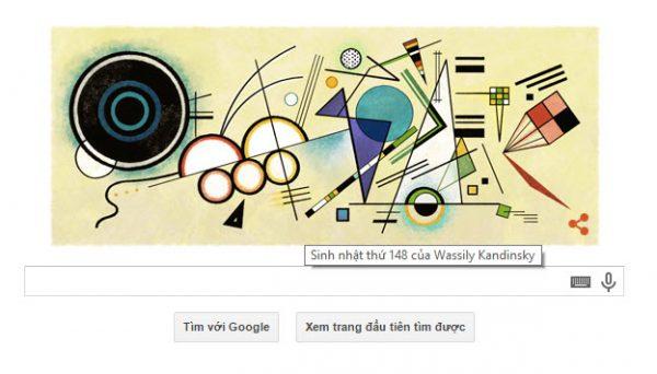 Logo Google hôm nay 16/12/2014: Chúc mừng sinh nhật lần thứ 148 của Wassily Kandinsky