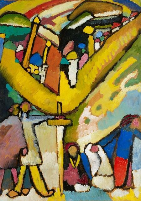 """Bức """"Study for Improvisation 8"""" (Học cách ứng biến 8) của danh họa người Nga Wassily Kandinsky (1866-1944). Bức tranh theo trường phái trừu tượng, sử dụng chất liệu sơn dầu. Wassily hoàn thành bức vẽ vào năm 1909. Sau 103 năm, đến tháng 11/2012, nó được mua lại với giá 23.042.500 đô la (tương đương hơn 484 tỉ VND)."""
