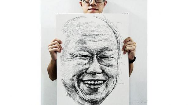 Độc đáo chân dung ghép từ 18.000 từ 'Lý Quang Diệu'