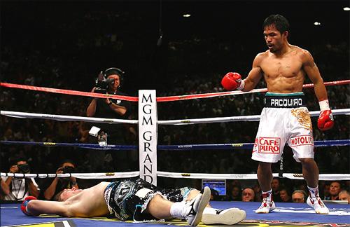 Pacquiao có tỷ lệ thắng bằng kknock-out tốt hơn hẳn so với Mayweather. Ảnh: AFP.