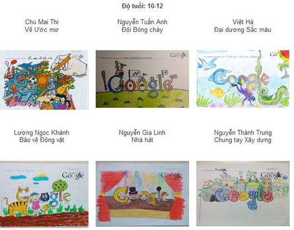 Một số tác phẩm trong cuộc thi Doodle4Google