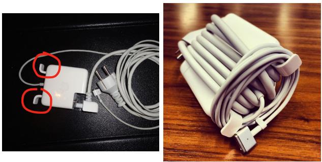"""Hai """"chiếc cánh"""" gập ra gập vào trên chiếc sạc laptop của Apple"""