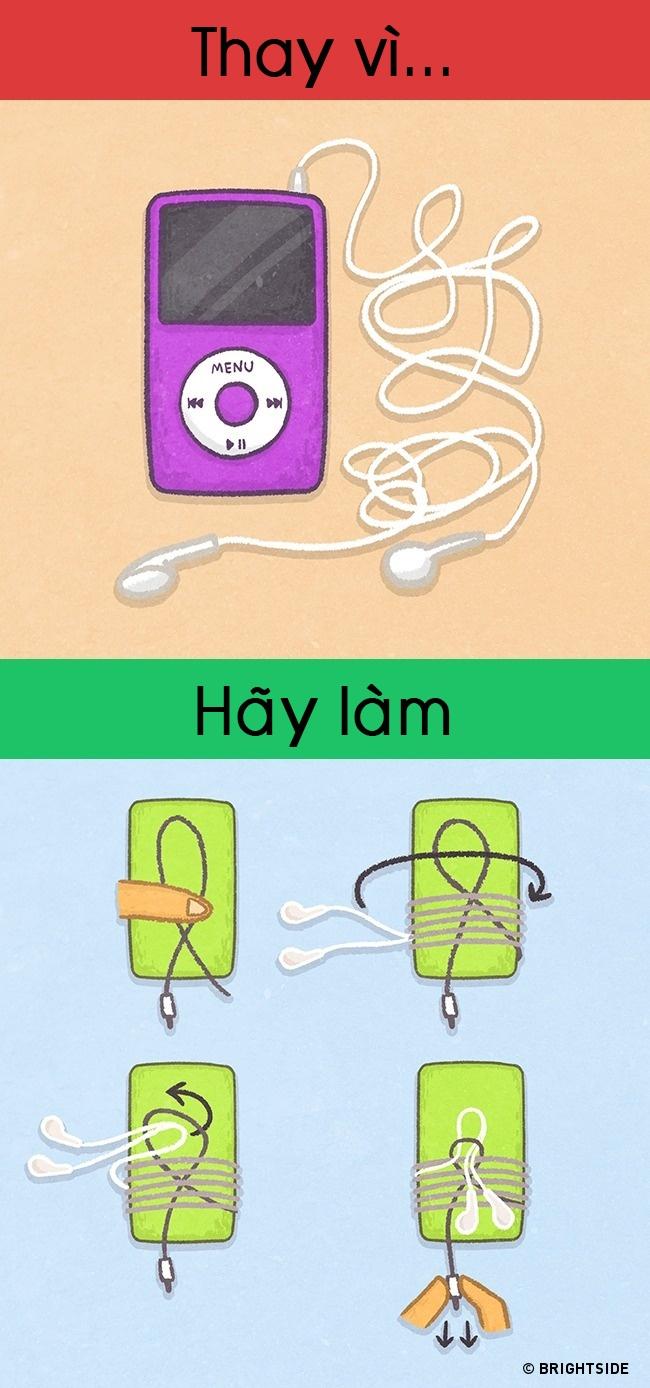 Cách quấn dây tai nghe