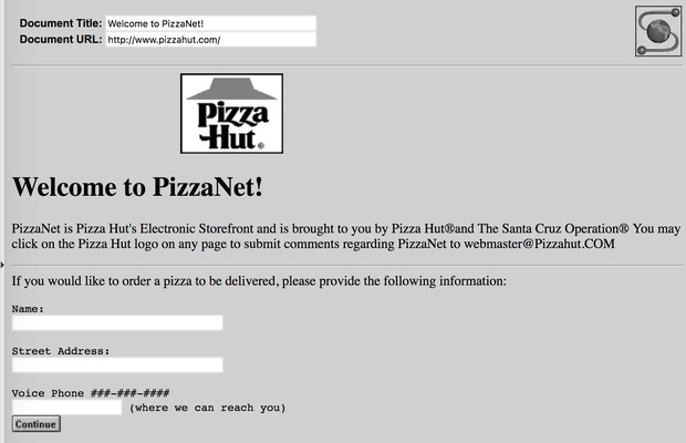 Giao diện website PizzaNet (nguồn: The History of the Web).