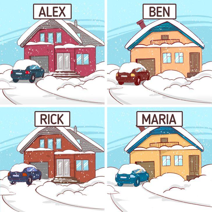 Có một vụ trộm vào một ngày tuyết rơi, nhưng tất cả mọi người đều khẳng định rằng họ đang ở nhà. Một trong số họ đã nói dối. Kẻ trộm là ai?