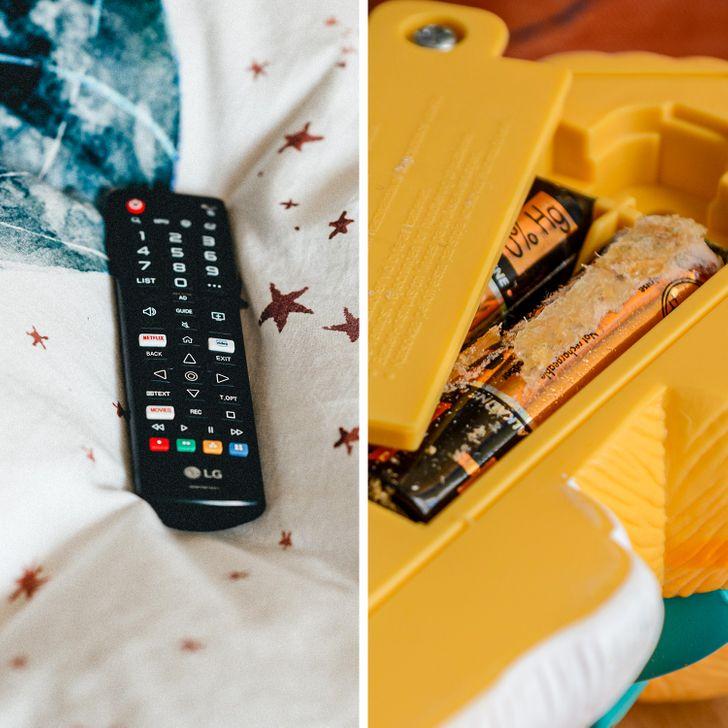 Pin và điều khiển, đồ chơi có pin nên thận trọng không cho trẻ gỡ được pin