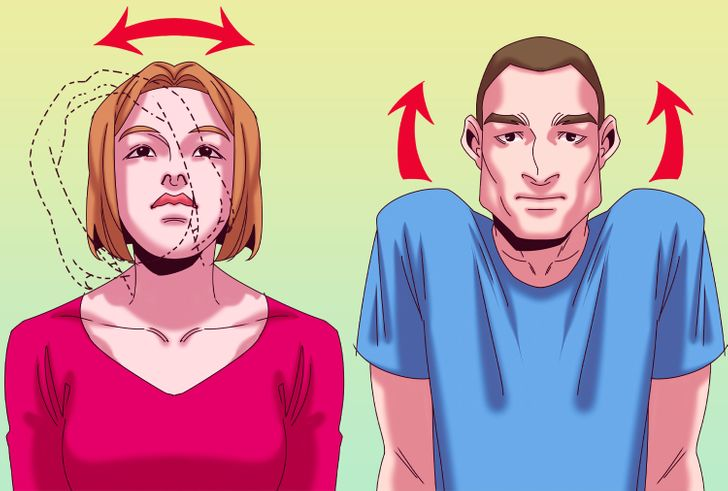 Bạn cũng có thể duỗi thẳng cánh tay lên trên, lắc đầu sang hai bên và di chuyển vai lên xuống để giải phóng căng thẳng ở cổ và thả lỏng các dây thần kinh.