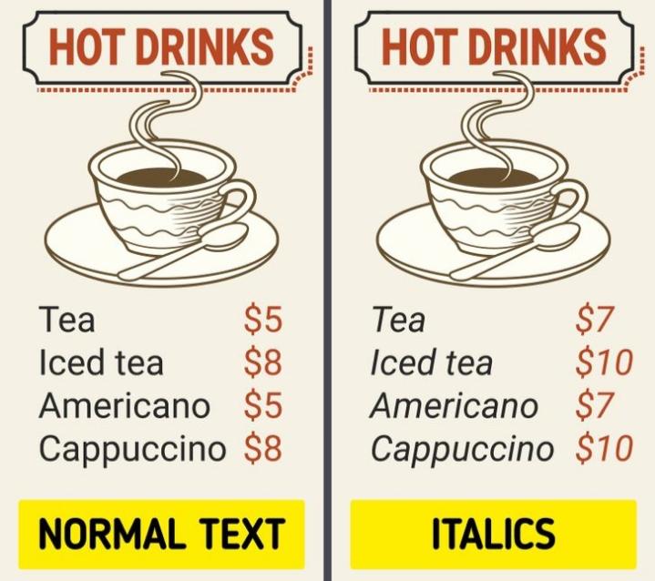 Phông chữ ảnh hưởng đến cách chúng ta cảm nhận thức ăn.