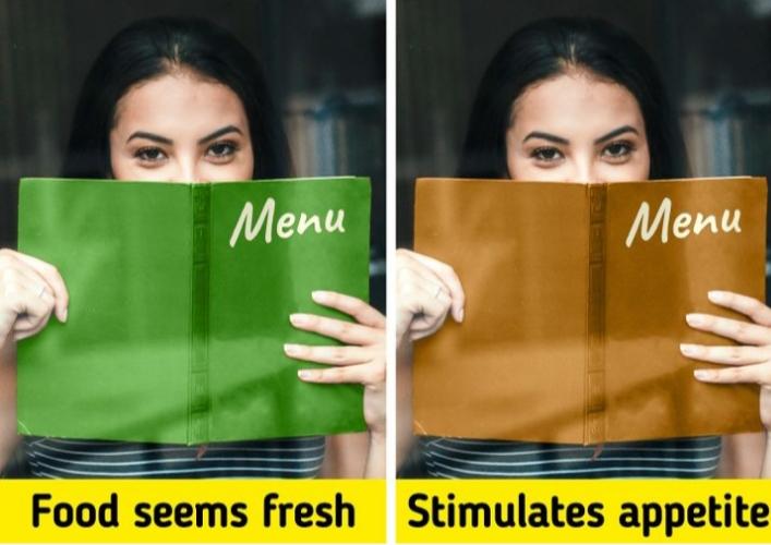 Màu sắc bên trong menu cũng gửi tín hiệu.
