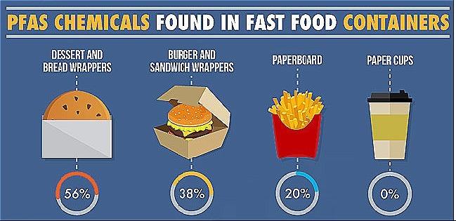 Hóa chất PFAS thường có trong nhiều hộp đựng giấy thức ăn nhanh. Ảnh: Web MD.