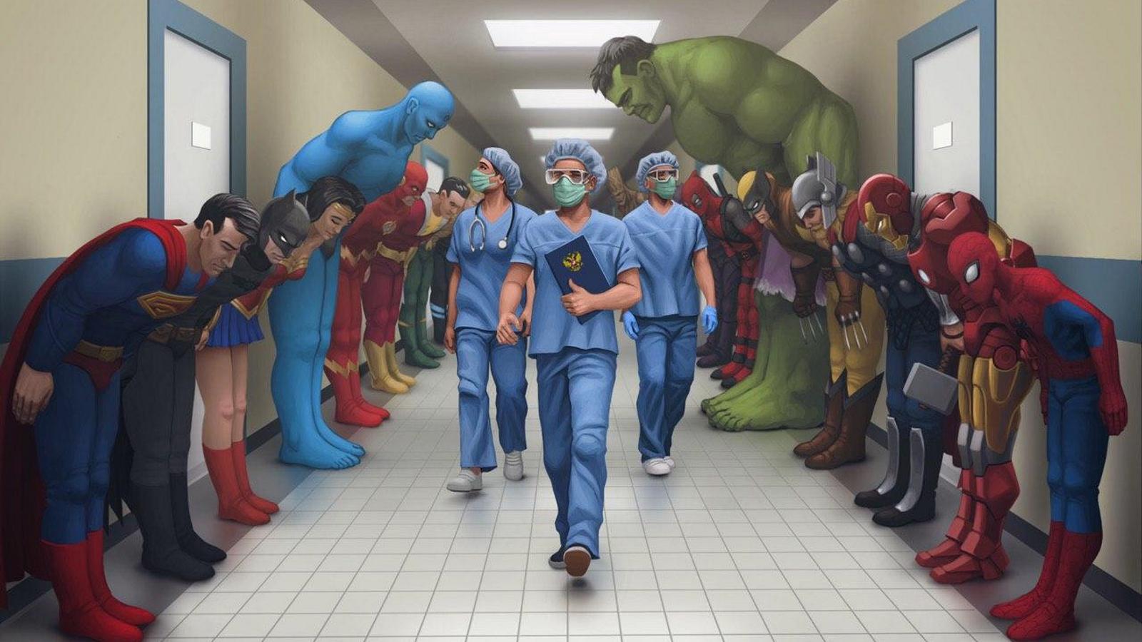 Các siêu anh hùng Cúi đầu trong Hành lang bệnh viện (Superheroes Bowing in a Hospital Hallway)