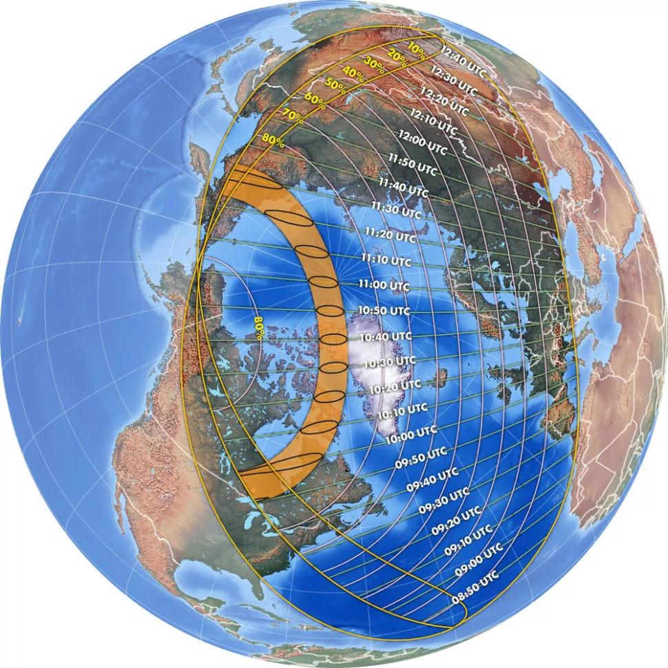 Hình ảnh này cho thấy phạm vi của nhật thực hình khuyên vào ngày 10 tháng 6 năm 2021. (Ảnh: Michael Zeiler, GreatAmericanEclipse.com)