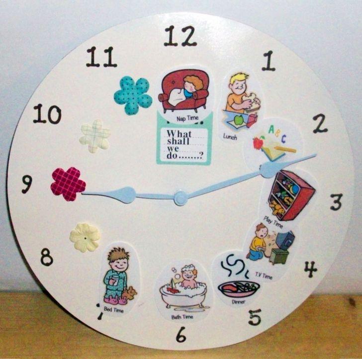 Đưa các dấu hiệu trực quan lên mặt đồng hồ sẽ giúp dạy con bạn tự nắm bắt khái niệm về thói quen hàng ngày.