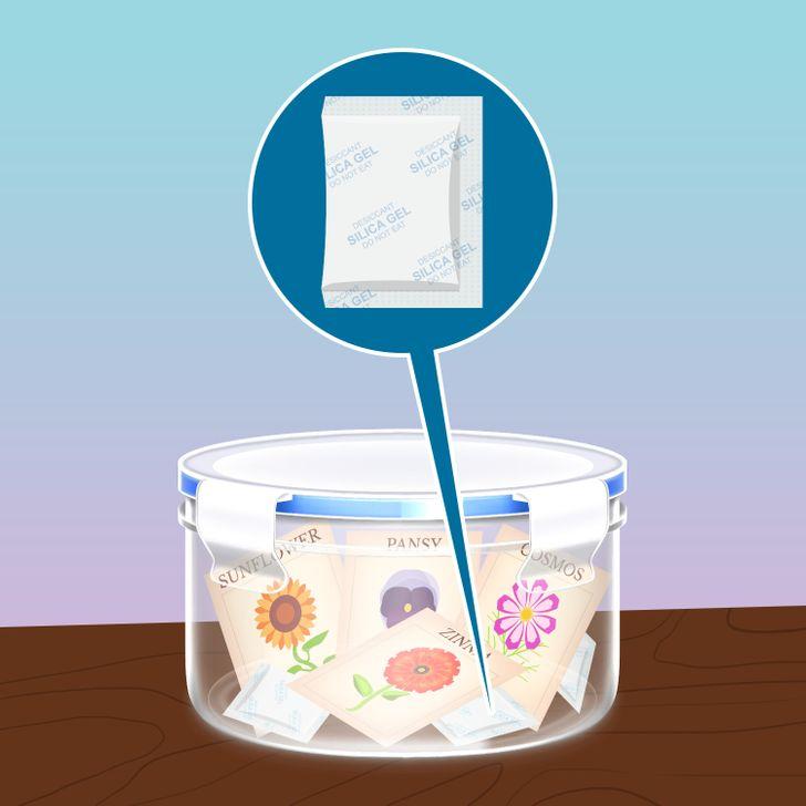 Silica sẽ giữ cho hạt của bạn luôn khô do đó chúng tươi lâu hơn, ngăn ngừa nấm mốc và sự nảy mầm có thể làm hỏng hạt của bạn
