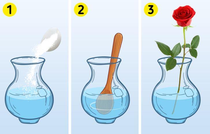 Đổ bỏ nước cũ và thêm nước mới cùng với một vài thìa đường, hoa của bạn sẽ mỉm cười ngay thôi.