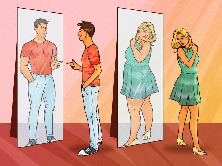 một số phụ nữ quá phàn nàn khi soi gương. Mặt khác, đàn ông hầu như không bao giờ nhìn thấy khuyết điểm trên ngoại hình của họ