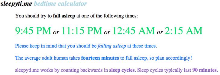Một trang web đơn giản, xuất sắc cho bạn biết khi nào bạn cần đi ngủ, tùy thuộc vào thời điểm bạn muốn thức dậy.