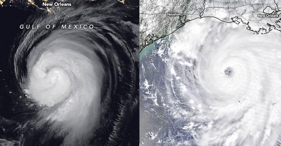 Bão Laura đến gần Hoa Kỳ vào ngày 26 tháng 8 năm 2020. Ở bên trái, vệ tinh NOAA-20 được nhìn thấy trong ánh sáng hồng ngoại của vệ tinh NOAA-20 do NASA chế tạo và phóng và được vận hành bởi NOAA. Ở bên phải, Laura được nhìn thấy với màu sắc tự nhiên bởi vệ tinh Terra của NASA. Ảnh: Đài quan sát Trái đất của NASA