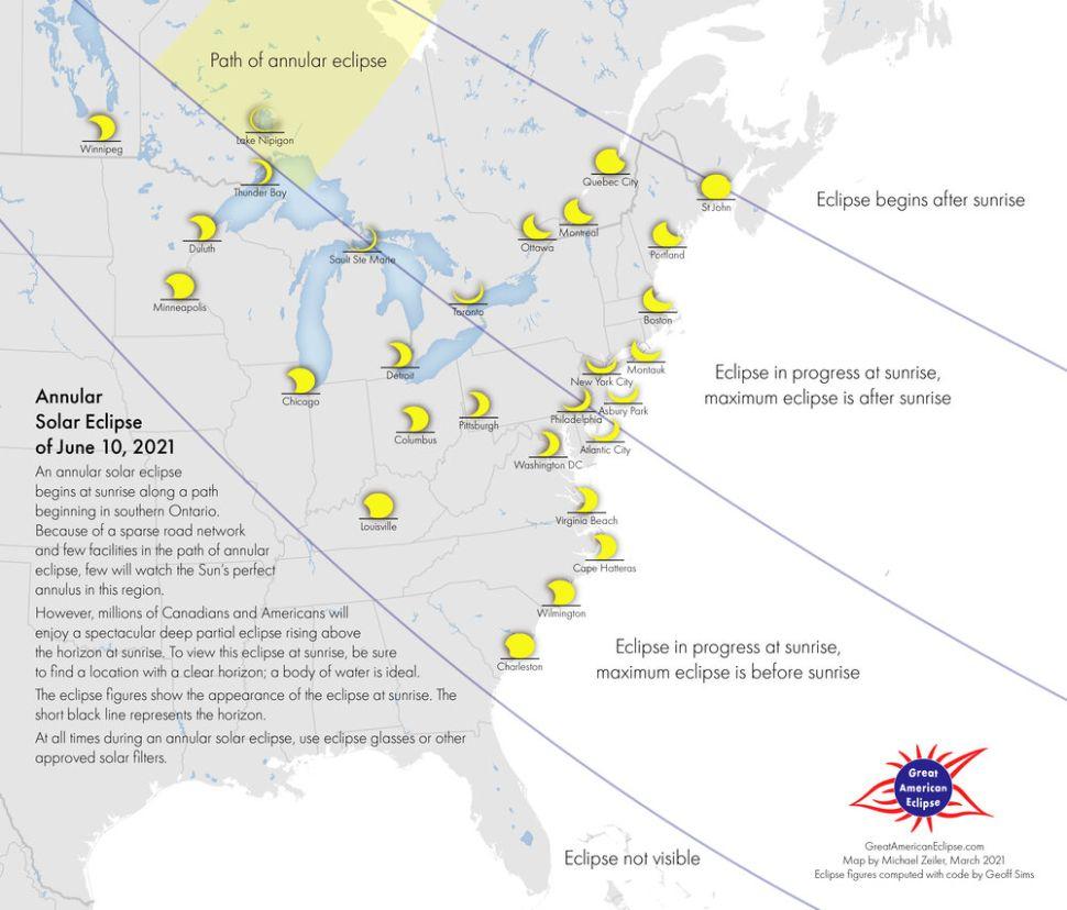 """Nhà vẽ bản đồ nhật thực Michael Zeiler đã tạo bản đồ hiển thị chi tiết này cho nhật thực hình khuyên ngày 10 tháng 6 năm 2021. Những người theo dõi bầu trời ở phần lớn miền trung và đông Bắc Mỹ, cũng như các khu vực của châu Âu và châu Phi, sẽ có thể thưởng thức sự kiện này dưới dạng nhật thực một phần; hiệu ứng """"vòng lửa"""" toàn phần chỉ diễn ra ở một phần đất hẹp ở miền trung và miền đông Canada.( Ảnh: Michael Zeiler, GreatAmericanEclipse.com)"""