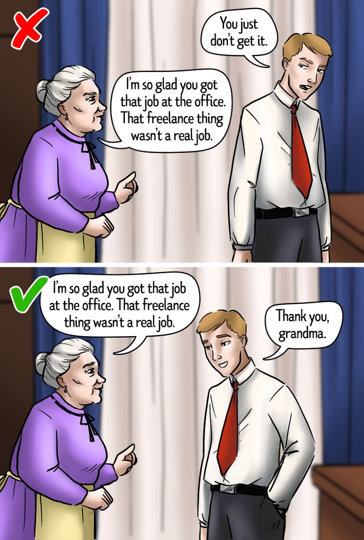 """""""Bà sẽ rất vui vì con nhận được công việc nào đó tại văn phòng. Công việc tự do con đang làm không phải là một công việc thực sự"""". Bạn gửi lời """"Cảm ơn"""" sẽ tốt hơn là phản ứng lại """"Bà đừng để ý tới chuyện đó"""""""