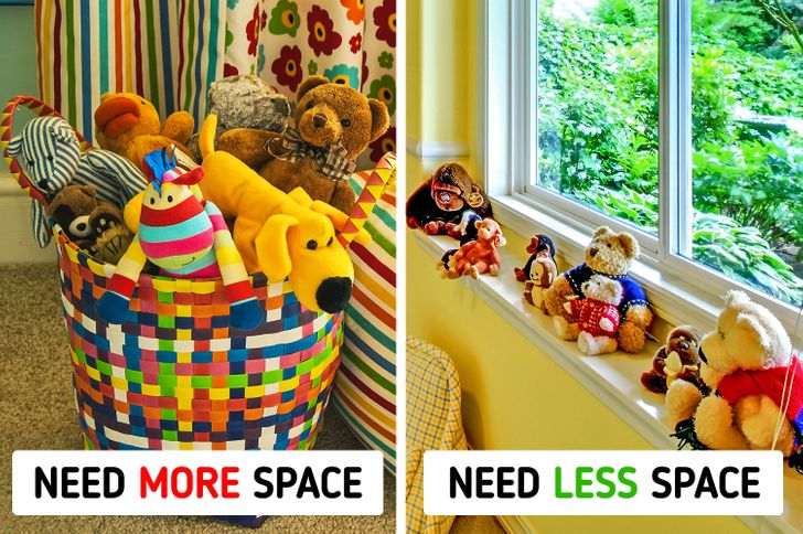 - Cần nhiều không gian hơn - Cần ít không gian hơn