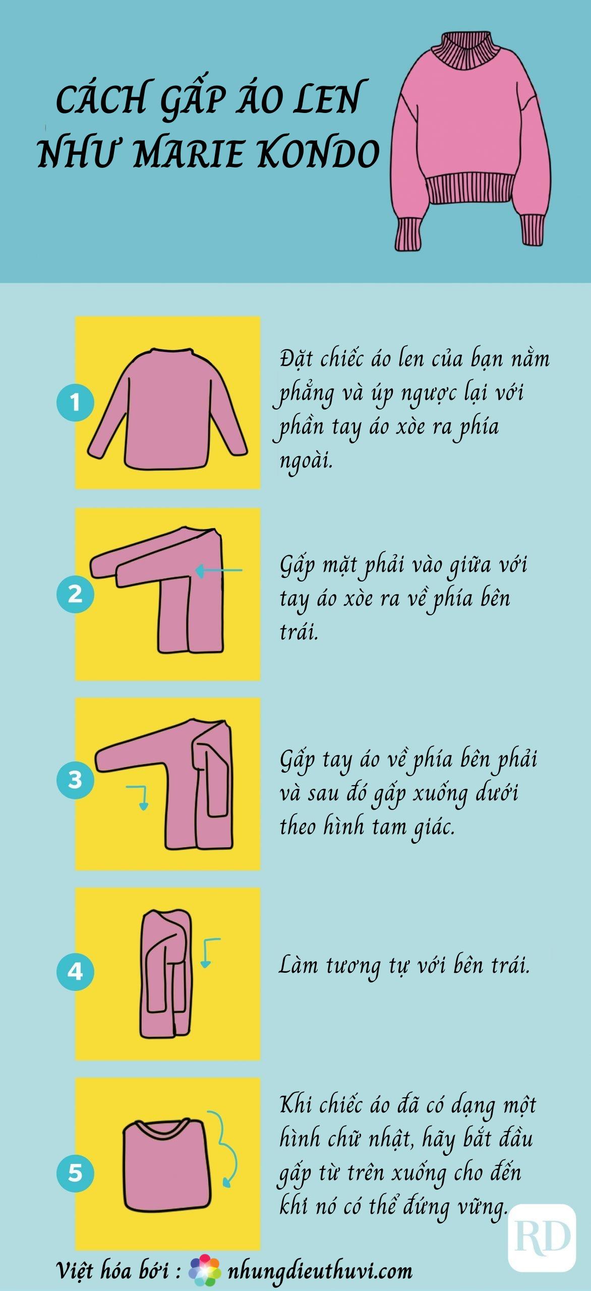 Cách gấp áo len