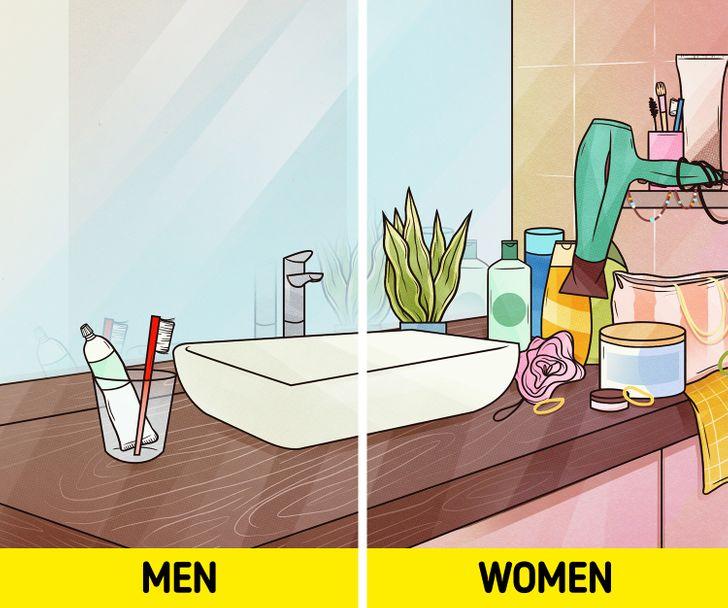 Về mặt khuôn mẫu, phòng vệ sinh của phụ nữ hoàn toàn khác với phòng vệ sinh của nam giới