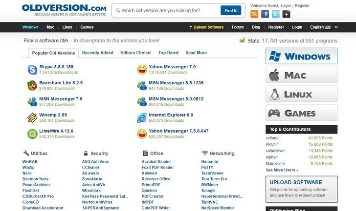 Với oldversion.com, bạn có thể tải xuống bất kỳ phiên bản nào trước đó của phần mềm Windows, Mac và Linux nếu nó không còn có sẵn từ các nguồn chính thức.