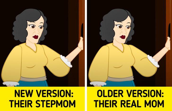 Phải mất vài năm trước khi mẹ của họ được viết lại thành mẹ kế của họ, ngay cả trong phiên bản của Grimm