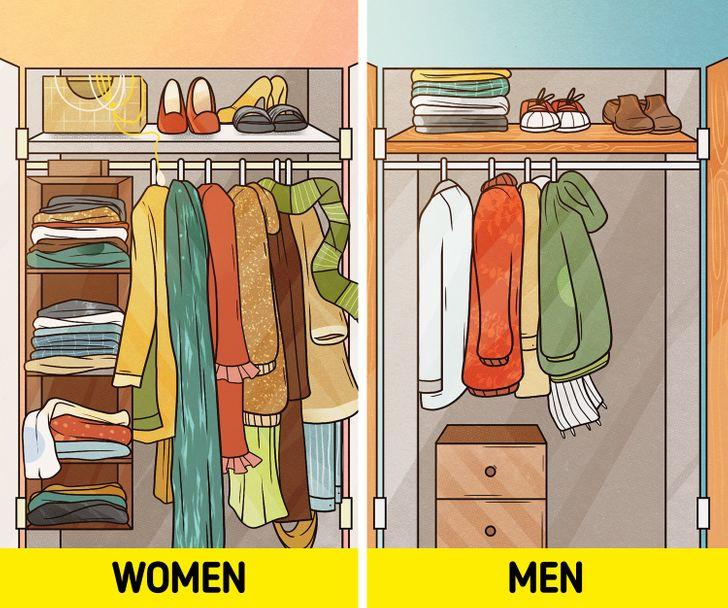 """Mặc dù tủ quần áo của họ đã bung ra, một sốphụ nữcảm thấy như họ vẫn không có gì để mặc.Đáng ngạc nhiên là đàn ông không ngại lặp lại cùng một bộ trang phục hoặc """"mix"""" với những gì họ đã có."""