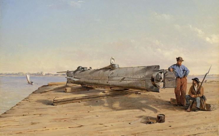Tàu ngầm HL Hunley Nguồn: Conrad Chapmann / Wikimedia Commons
