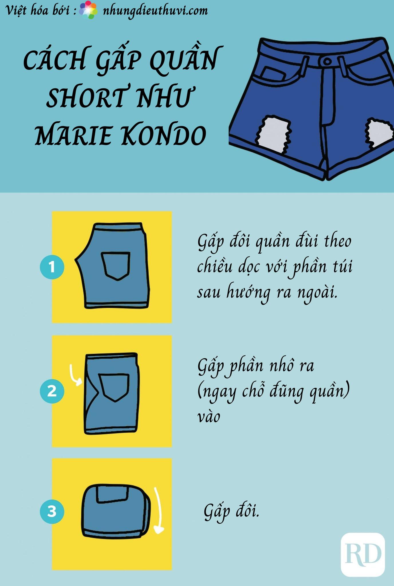 Cách gấp quần đùi