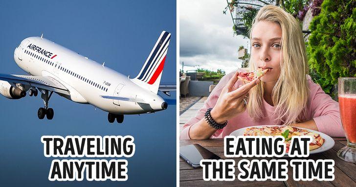 Đánh bại chứng mệt mỏi khi đi máy bay bằng cách điều chỉnh giờ ăn. Ảnh: © pixabay.com, © depositphotos.com