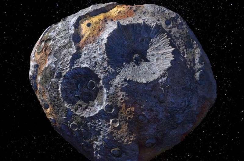 Khái niệm của một nghệ sĩ về tiểu hành tinh 16 Psyche. Nhà cung cấp hình ảnh: Maxar / ASU / P.Rubin / NASA / JPL-Caltech