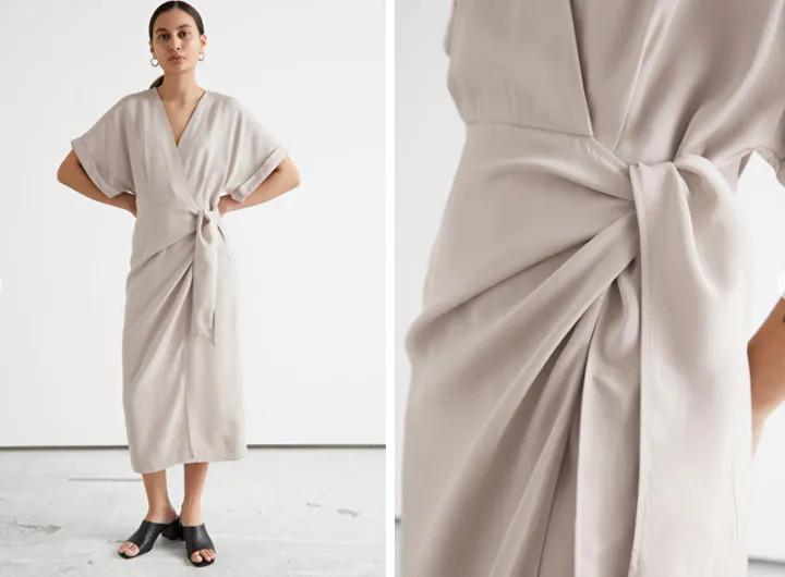 Váy quấn midi có tay áo gấp