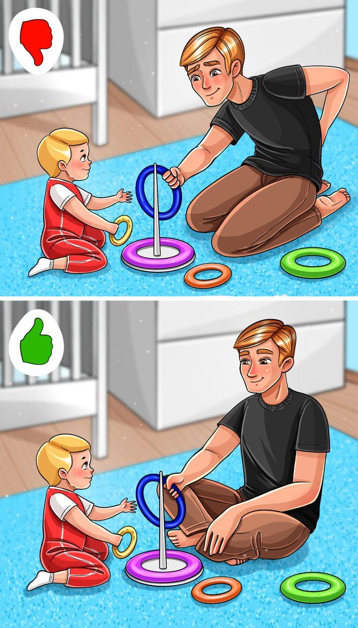Khi chơi với con, bạn có thể dễ dàng quên rằng mình phải ngồi thẳng lưng để tránh đau lưng.
