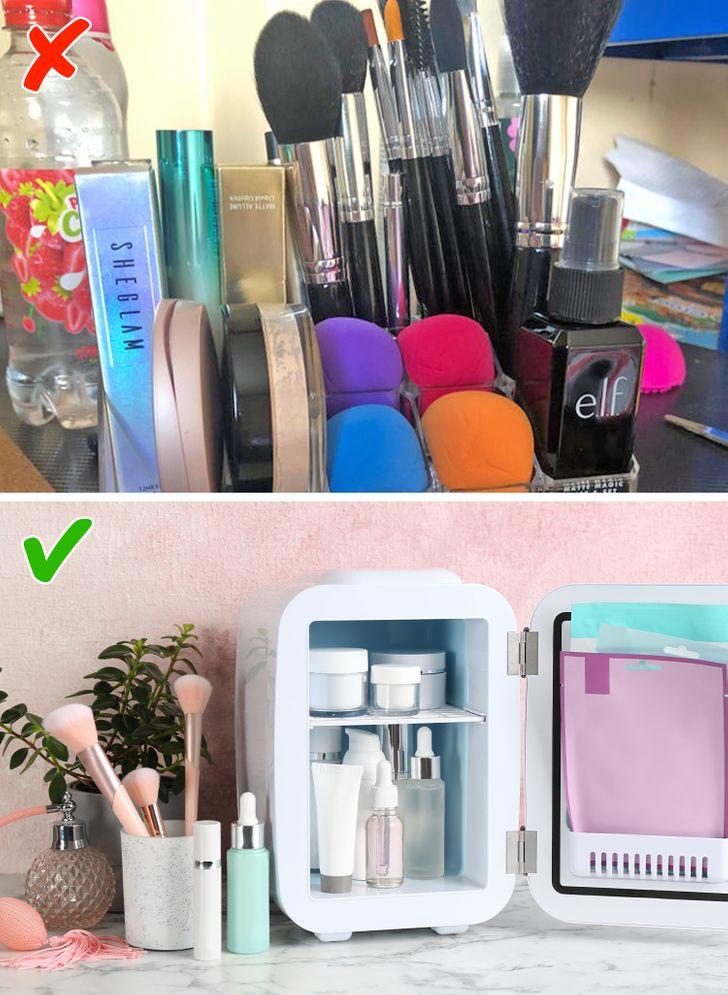 Họ bảo quản các sản phẩm làm đẹp vào tủ lạnh trước khi sử dụng.