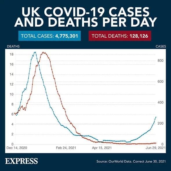 Biểu đồ Covid: Biểu đồ mới cho thấy một khoảng cách đã mở ra giữa các trường hợp Covid và tử vong. (Ảnh: EXPRESS - OUR WORLD IN DATA)