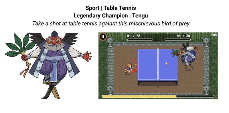 Bạn có thể chơi bóng bàn với Tengu, một linh hồn người chim thần thoại. Hình ảnh: Google