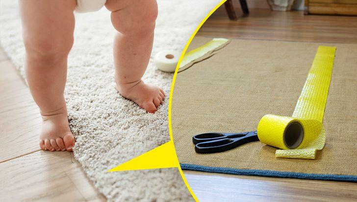 thảm không có độ bám chống trượt có thể làm trẻ ngã