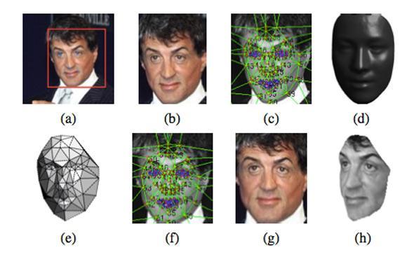 Từ hình ảnh ban đầu của một khuôn mặt (a), DeepFace tạo ra mô hình 3-D (d), sau đó nó có thể xoay để tạo ra hình ảnh của cùng một khuôn mặt ở các góc khác nhau (g, h), sau đó nó có thể khớp với các ảnh của cùng một người. Ảnh: Facebook